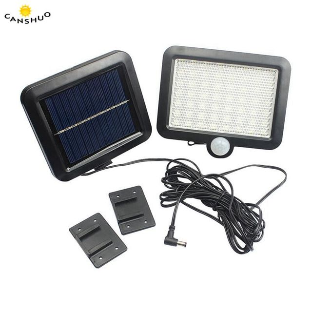 CANSHUO IP65 Waterproof 56 LED PIR Solar Panel Motion Sensor 5m Wire Outdoor/Indoor Wall Night Lights For Garage Tent Fishing