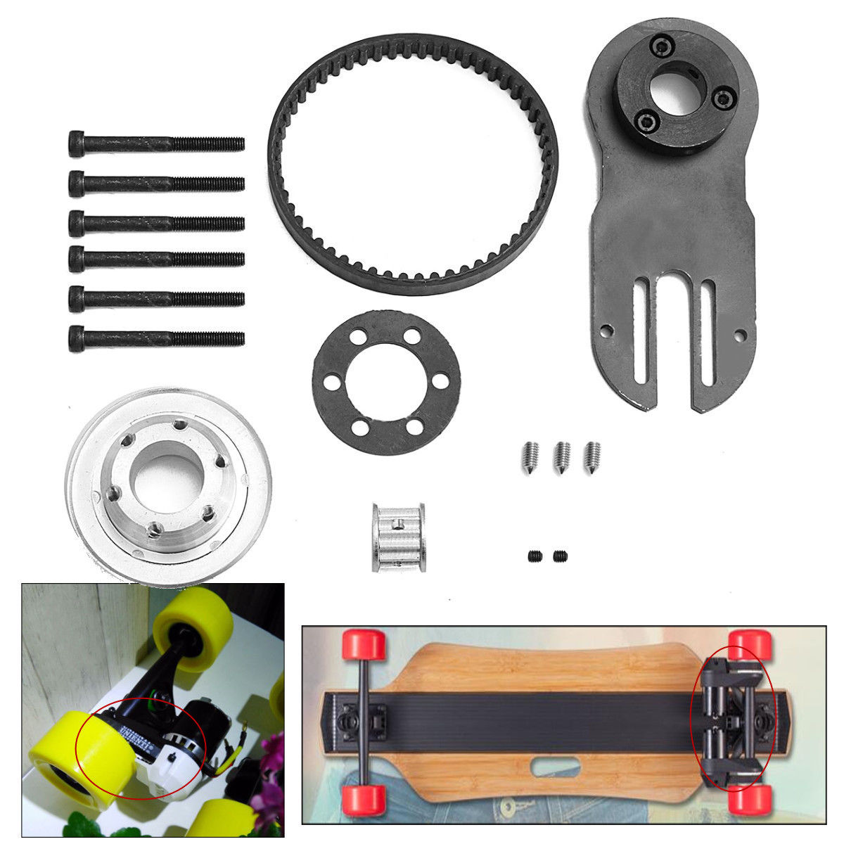 Mayitr Electric Skateboard Parts Pulleys Motor Mount Kit Tool for 83/90/97mm Wheels Skate Board Accessories 50mm 53mm 101a chocolate skateboard wheels made by high density pu 4 wheels for skate trucks parts to set up for the board