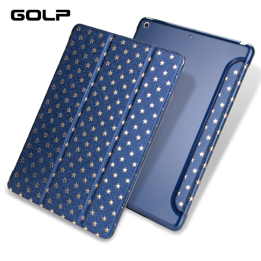 Ultra thin Flip Case for iPad 9.7 2017 2018 A1822/A1893, GOLP Smart PU Leather and PC Back Cover for iPad 2018 case стоимость