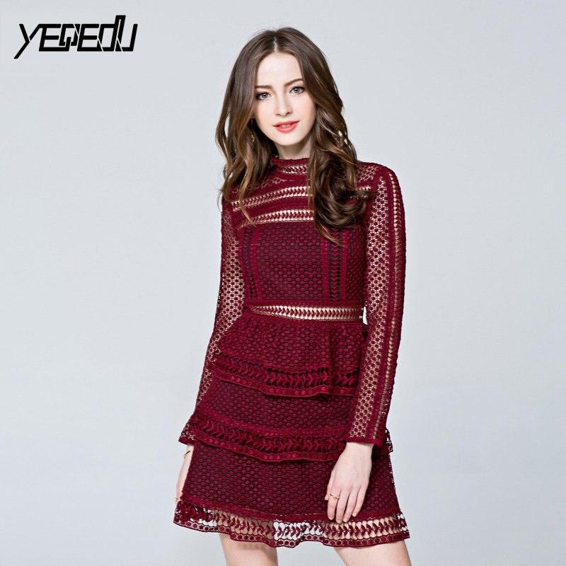 #2761 dentelle voir à travers la robe Mini robes femmes rouge/noir évider à manches longues col montant taille haute élégant bureau dames