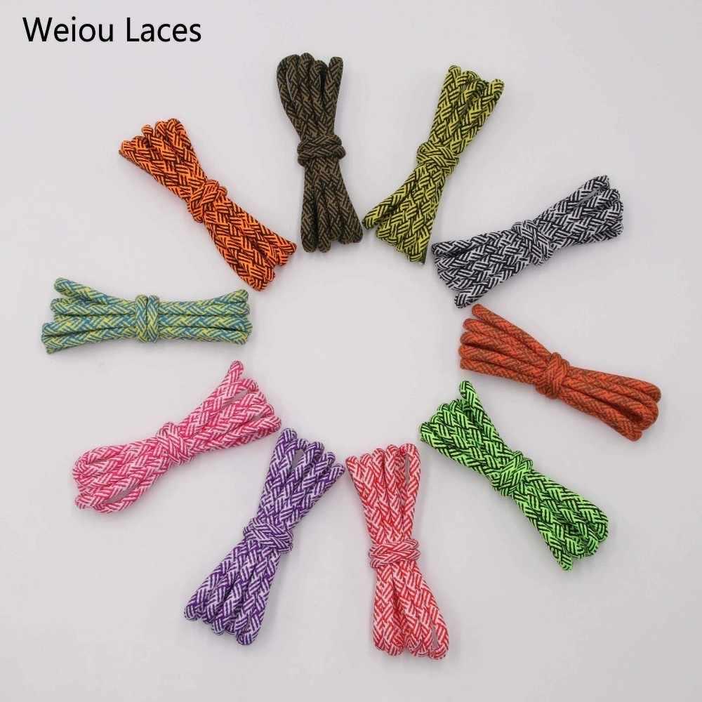 Weiou พิเศษ Spiral HUMAN RACE รอบ Laces 4.5 มม. สองสีผสมที่มีโปร่งใสพลาสติก Aglet เคล็ดลับเชือกผูกรองเท้า