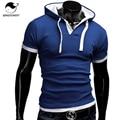 Homens Da Camisa de T Topos de Design Da Marca 2017 Homens Moda Com Capuz Collar Sling & t-shirt Da Camisa de T Dos Homens de Manga Curta Magro Masculino Encabeça XXXL NFSD