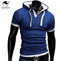 T Shirt Men Brand 2017 Fashion Men'S Hooded Collar Sling Design Tops & Tees T Shirt Men Short Sleeve Slim Male Tops XXXL NFSD