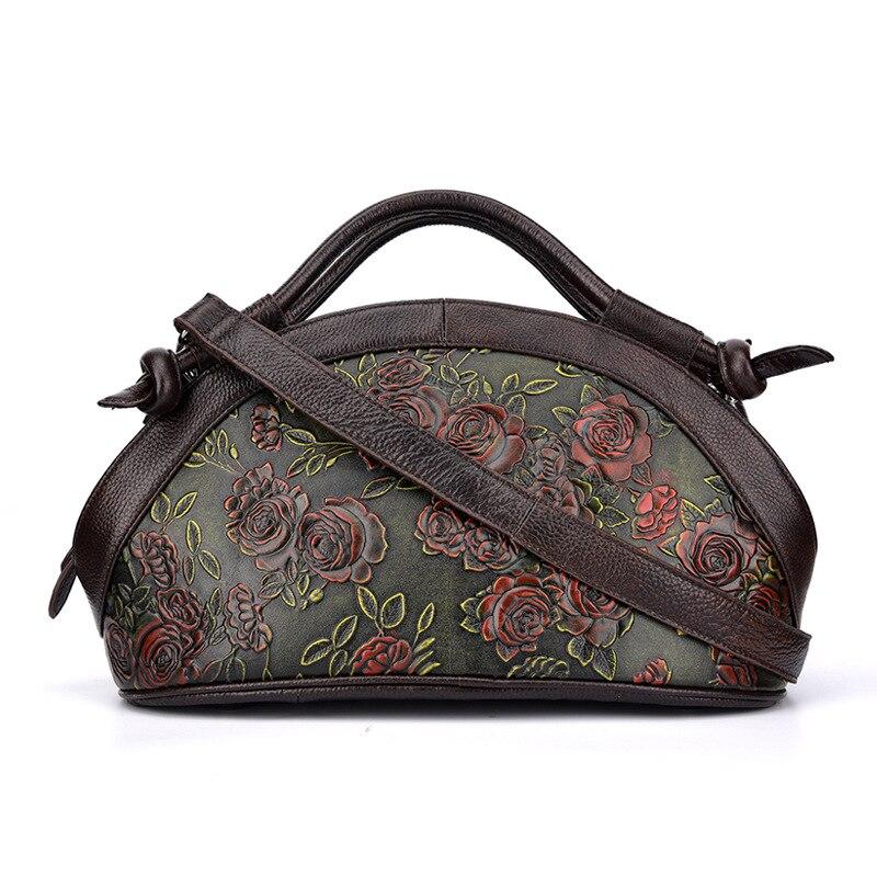 Johnature 2019 ใหม่ของแท้หนัง Retro Floral ซิป Totes กระเป๋าสตรีกระเป๋าถือ Crossbody กระเป๋าถือผู้หญิงกระเป๋า-ใน กระเป๋าหูหิ้วด้านบน จาก สัมภาระและกระเป๋า บน   2