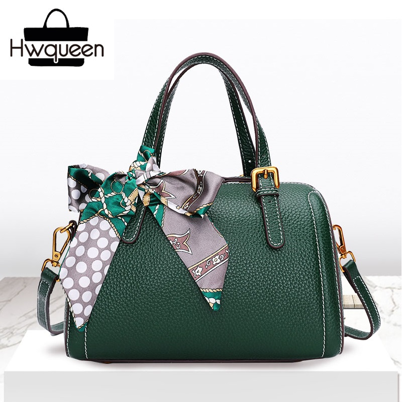 Fashion Genuine Leather Zipper Closure Lady Scarf Pillow Handbag For Women Single Shoulder Bag Real Cow