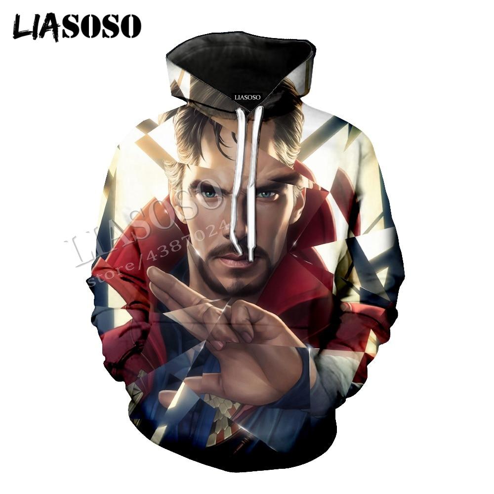 LIASOSO latest 3D printing comfort polyester Marvel comics movie Doctor Strange zipper hoodie men and women sportswear CX525