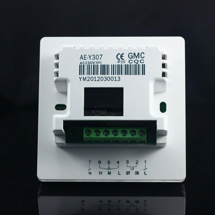 Большой ЖК-дисплей TFAEY-307YL термостат дистанционного управления AC220V с подсветкой для HAVC фанкойла и клапана