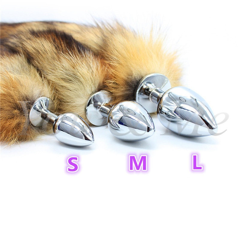New anal <font><b>sex</b></font> <font><b>toys</b></font> metal butt plug dog tail Big Anal plug fox tail Stainless steel butt plug <font><b>cat</b></font> tail anal plug fox tail cosplay image