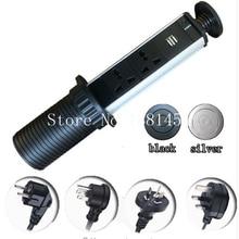 New EUA/UK/EU/AU plug 1 * led + 3 * poder universal + 2 * carga USB material de Alumínio prata/preto cap Tomada Cozinha, Frete Grátis