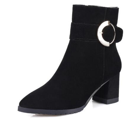 Women new item black pointed toe medium chunky heel ankle boots Fashion ladies' flock zipper short boots Female dress shoes игорь алексеевич фадеев потеряшки