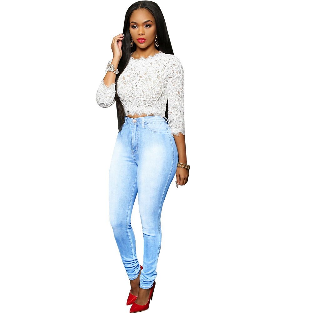 531bcf2112bd SEJIAN 2017 Light Blue Rote Jeans Trousers Stretch Tight Jeans Women's  Denim Pant For Girls Female High Waist Jeans-in Jeans from Women's Clothing  on ...