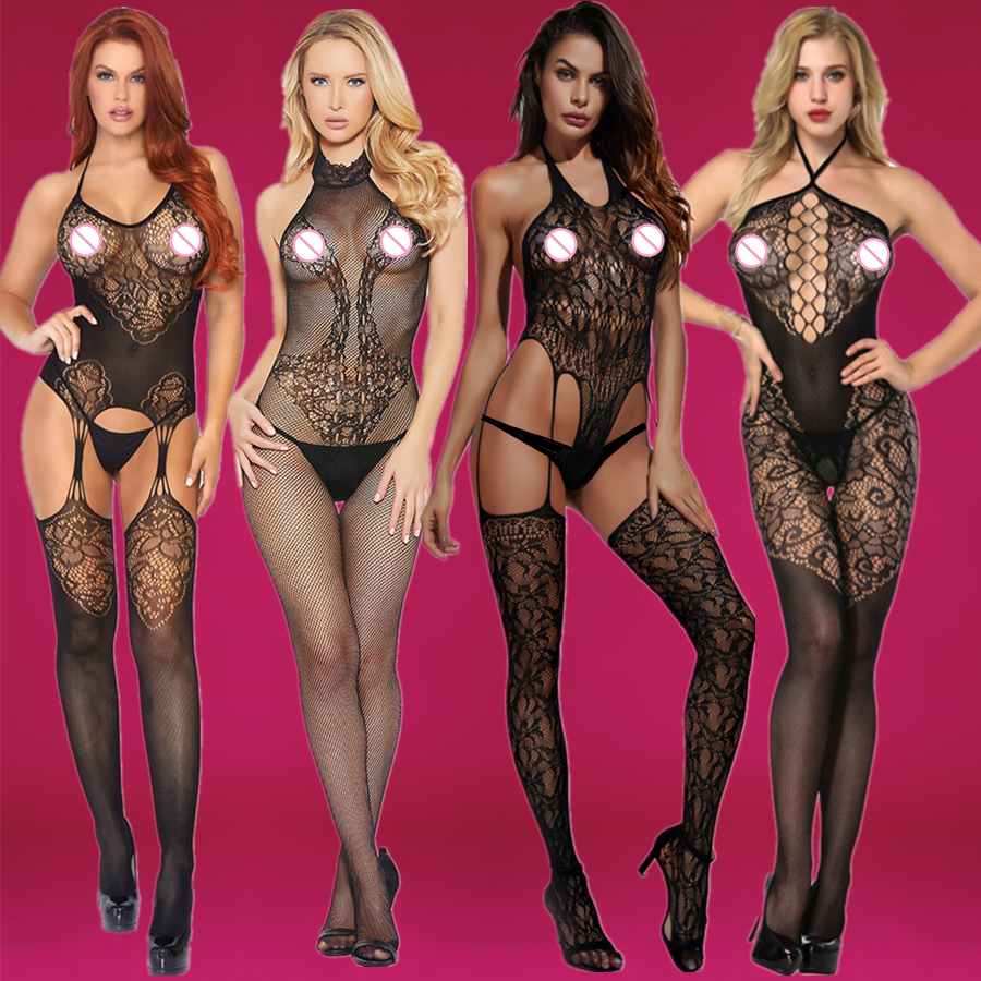 Sexy Women Fishnet Open Crotch Bodystockings Mesh  Black Lingerie Erotic Bodysuit Sleepwear Crotchless Teddies 203