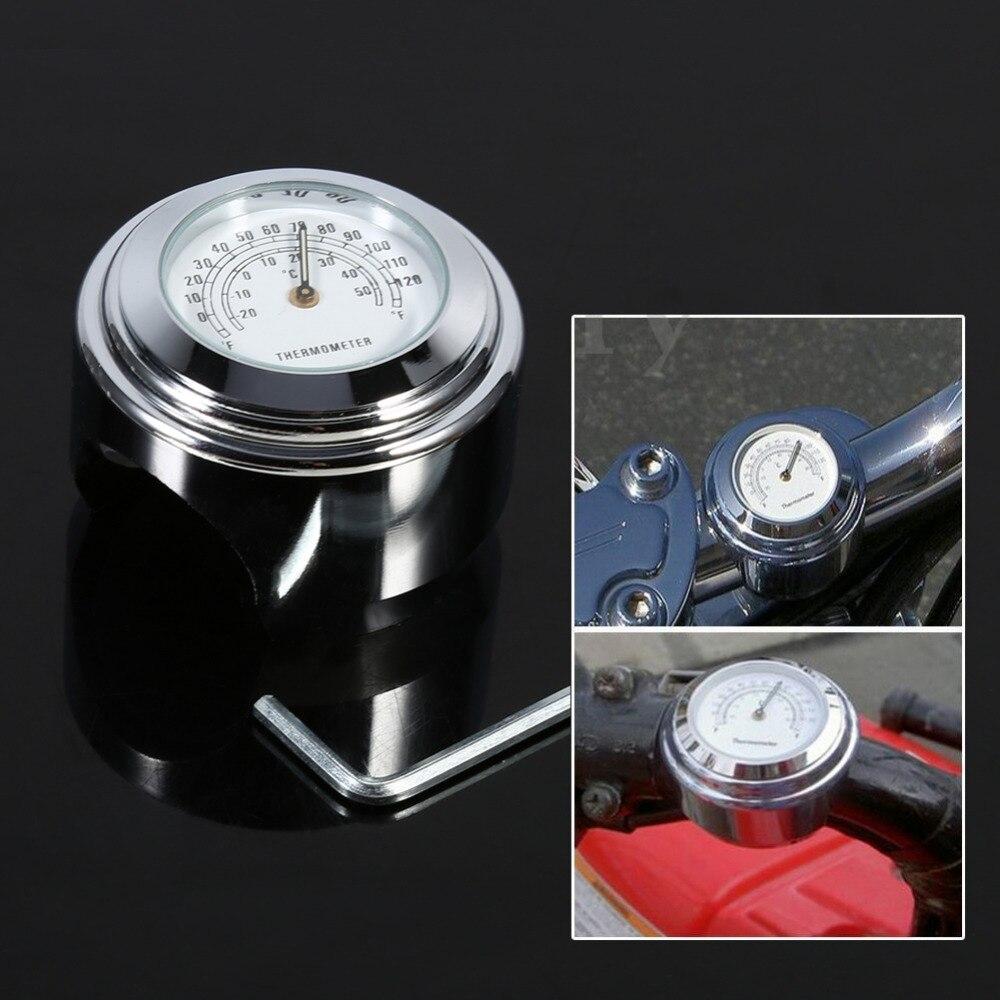 7/8 1 Motorcycle Handlebar Mount Thermometer Waterproof Temp Dial Gauge White