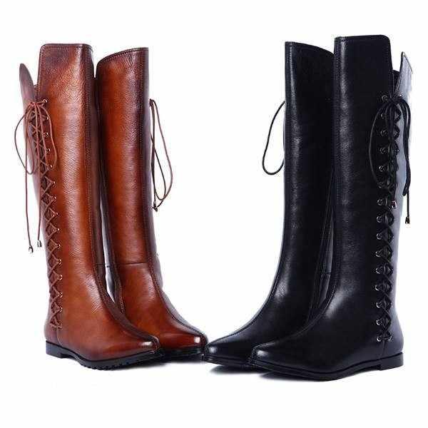 2016 г., новые ботинки из высококачественной натуральной кожи с острым носком зимние пикантные ботинки на плоской подошве со шнуровкой Женские мотоциклетные ботинки