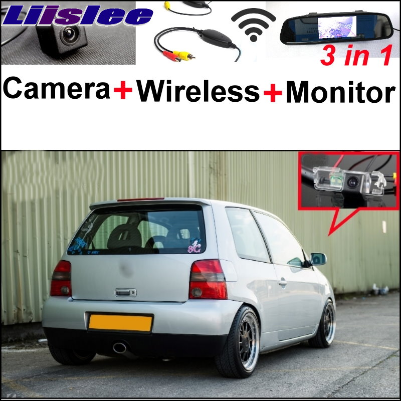 Liislee 3 in1 Special Rear View Camera + Wireless Receiver + Mirror Monitor Easy DIY Parking System For Volkswagen VW Lupo liislee for renault samsung qm5 3 in1 special rear view camera wireless receiver mirror monitor easy back parking system