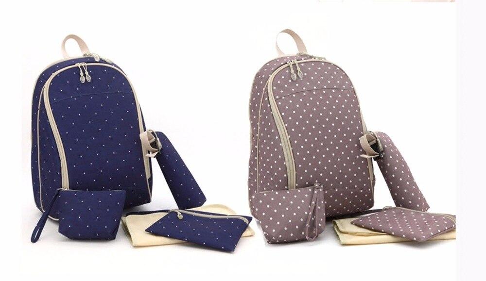 Top Quality Dots Design 5PCS Baby Changing Nappy Diaper Bag Set Backpack Mummy Bag--LX106