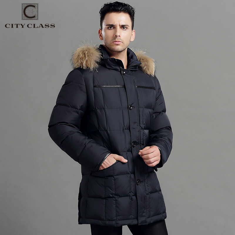 CITY CLASS Mens Winter Thick Warm Down Jacket True Raccoon Fur Fashion Long Coat Duck Down Stand Collar Removable Hood 13226 russia winter boys girls down jacket boy girl warm thick duck down