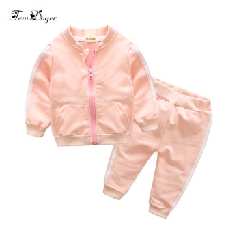 Tem Doger Autumn Baby Girls Boys Clothing Sets Infant Striped Prints Sport Suits Zipper Coat+Pants 2Pcs tracksuits Outfits Sets