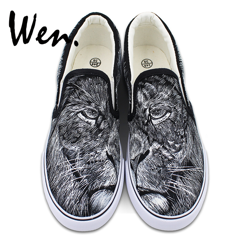 Wen Hand Painted Lion Shoes Canvas Slip on Flats Original Design King of Jungle Animal Sneakers Unisex Low Strapless