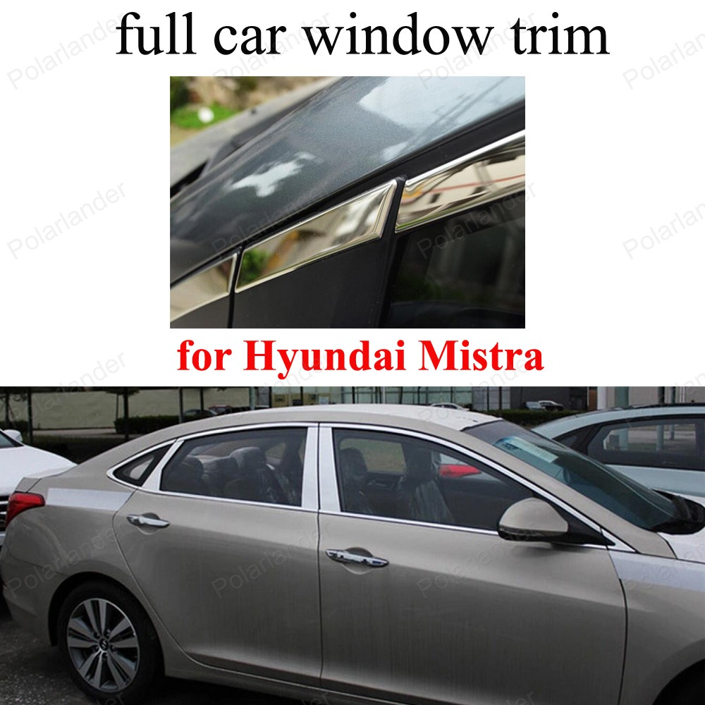 Stainless Steel full Window Frame Trim Cover For H-yundai Mistra decoration strip with center pillar stainless steel full window with center pillar decoration trim car accessories for hyundai ix35 2013 2014 2015 24
