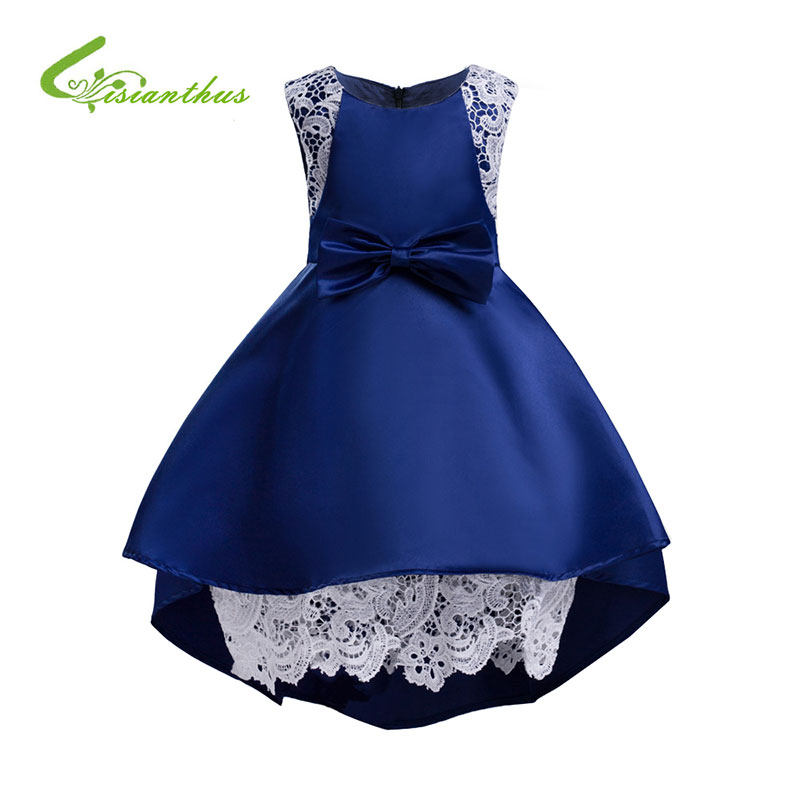 Baby Girl Dress Summer Elegant Big Bowknot Ball Gown for Children Kid Wedding Party Lace Dresses Kids Clothes Birthdays Clothing boutique white children graduation ball gown elegant lace bowknot flower girl dress for wedding