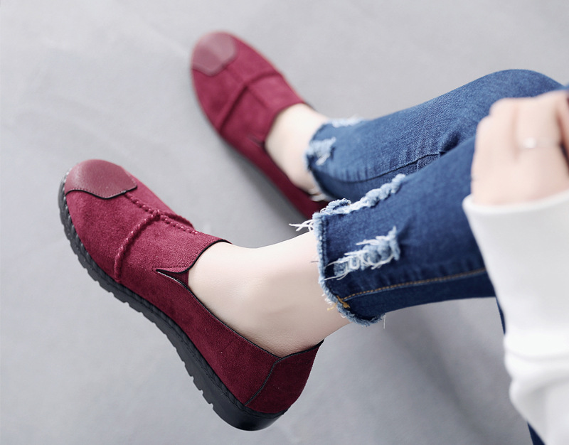 Plus Size Summer Women Flats Fashion Splice Flock Loafers Women Round Toe Slip On Leather Casual Shoes Moccasins New 2019 VT209 (4)
