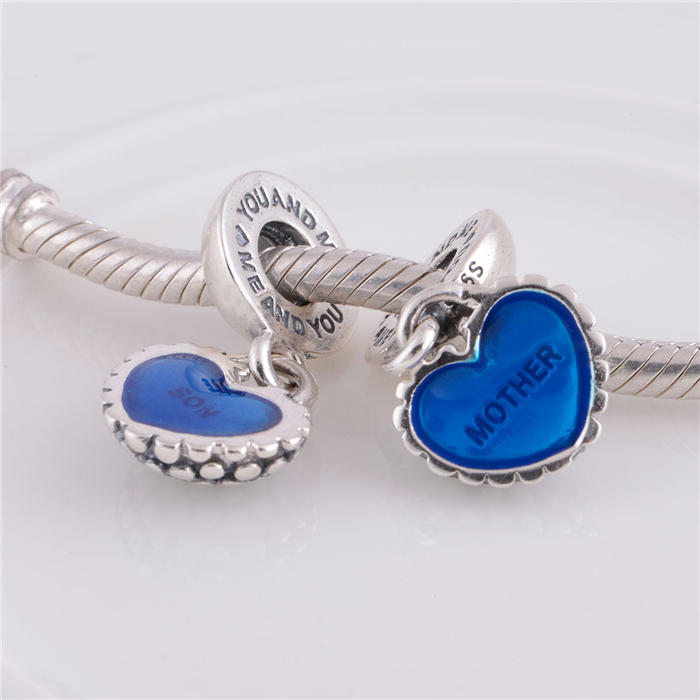 Fits bracelet Original 925 sterling silver Threaded Charms Mother and son Blue love heart Silver beads DIY free shipping