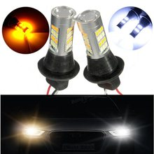 цены на 2018 Auto Led Light Daytime Running Light Front Turn Signals Light Car DRL Led Winker Bulb White+Yellow Lamp 50W 42SMD T20 7440  в интернет-магазинах