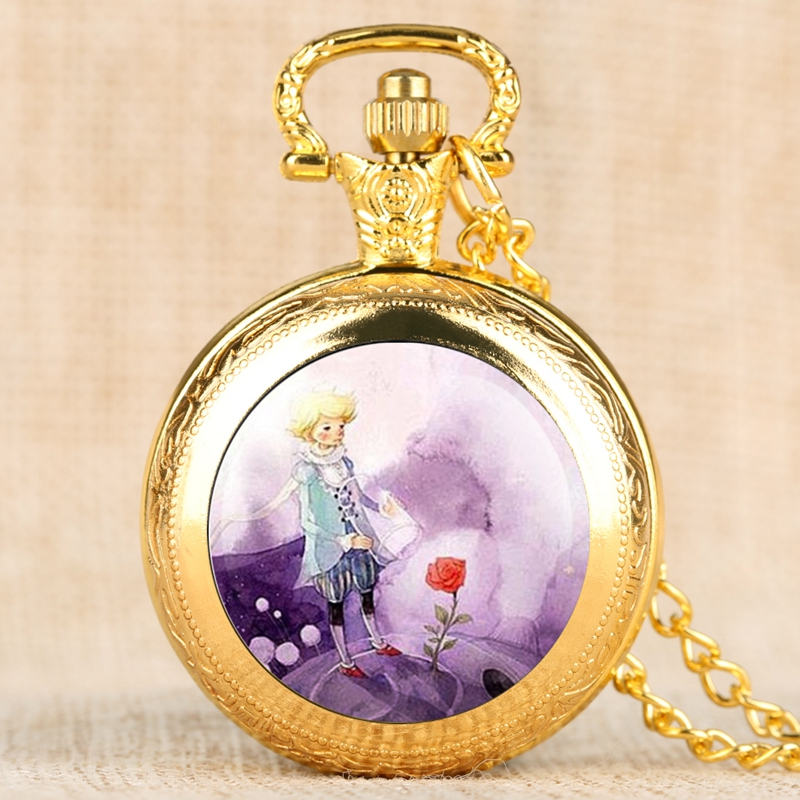 Silver Gold Bronze Little Prince Pocket Watch Rose Flower Fob Quartz Clock With Chain Necklace Pendant Best Gift As Collectibles