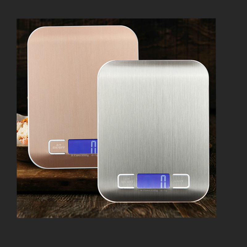 10Kg 1g Pocket Digital Kitchen Scale Cooking Scales Diet Food Weighing Measure Tools Stainless Steel Blue LCD Backlight