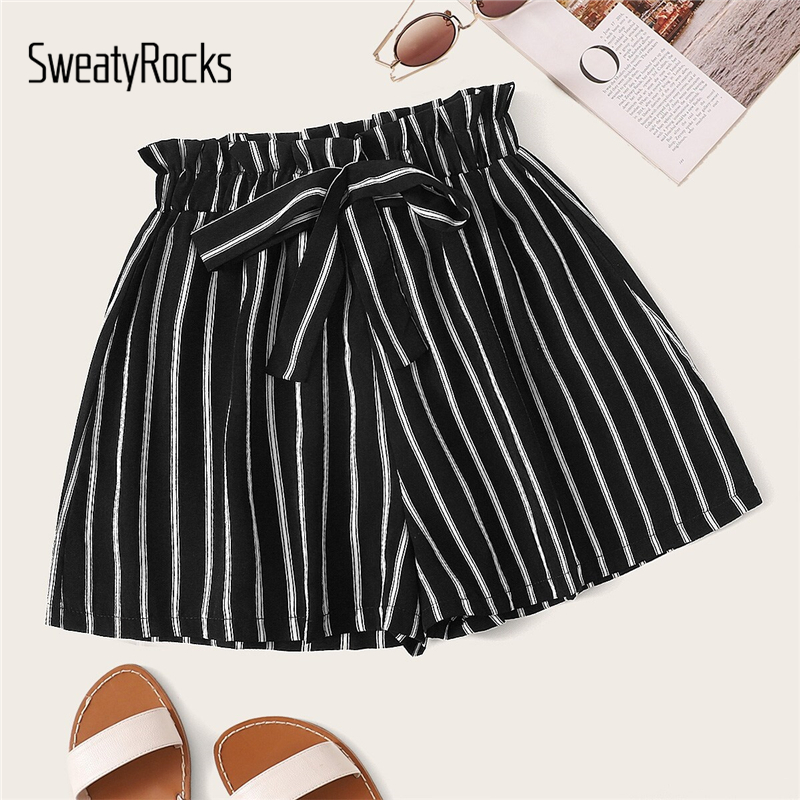 SweatyRocks Black High Waist Bow Decor Striped Paperbag Shorts Women Streetwear Wide Leg 2019 Casual Shorts Womens Summer Shorts