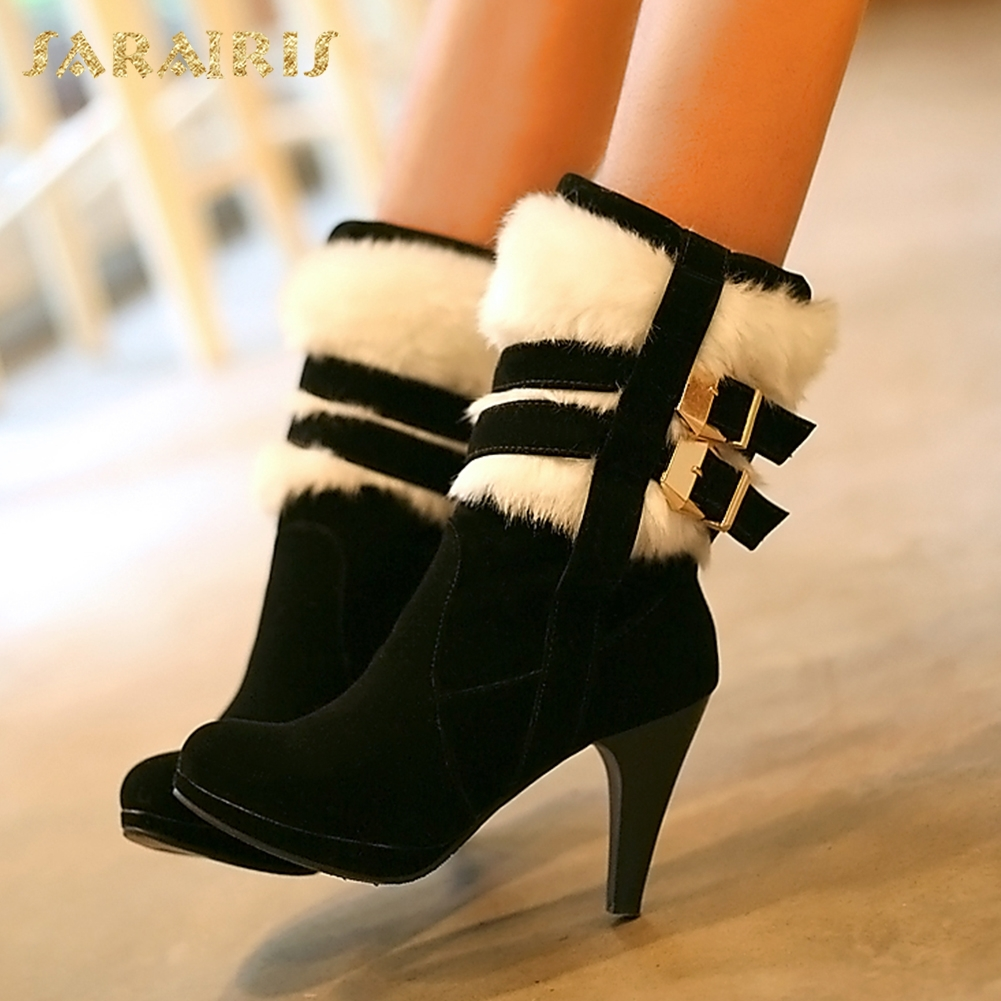 SARAIRIS 2018 Plus Size 30-48 Woman Boots Fashion Sexy Thin High Heels Buckles Warm Fur Party women's Shoes mid-calf Boots цена