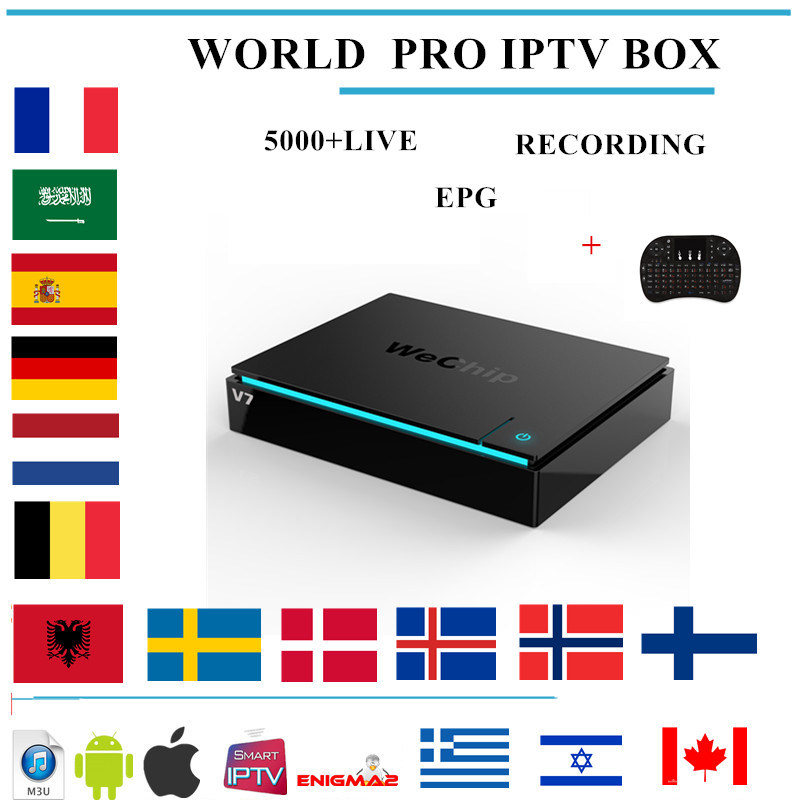 wechip v7 Android TV BOX 7.1+ 5000+LIVE IPTV Nordic Arabic france Europe Netherland portugal USA Brazil Asia smart TV IPTV BOX