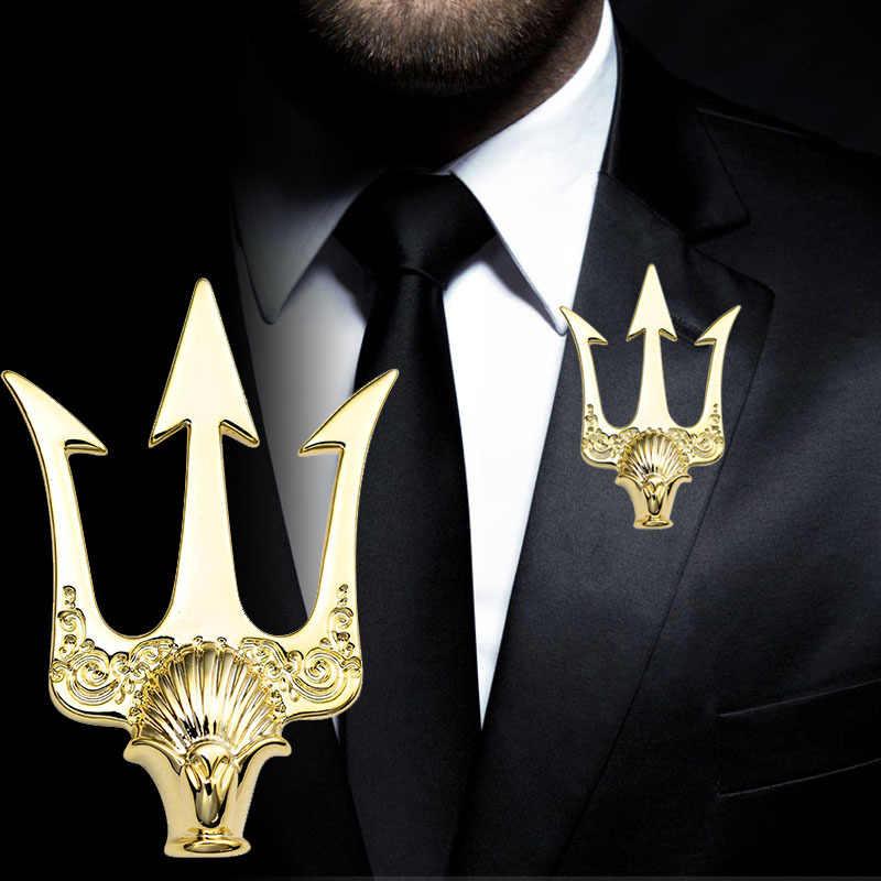High-End Inggris Stlye Vintage Trident Bros Pria Perapi Logam Bros Kerah Pin Lencana Kemeja Kerah Aksesoris Hadiah untuk Pria