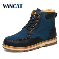 VANCAT Super Warm Men S Winter Pu Leather Ankle Boots Men Winter Waterproof Snow Boots Leisure