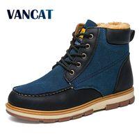 VANCAT Süper Sıcak erkek Kış Pu Deri Ayak Bileği Boots Erkekler Kış Su Geçirmez Kar Botları Eğlence Martin Kış Çizmeler Ayakkabı Mens