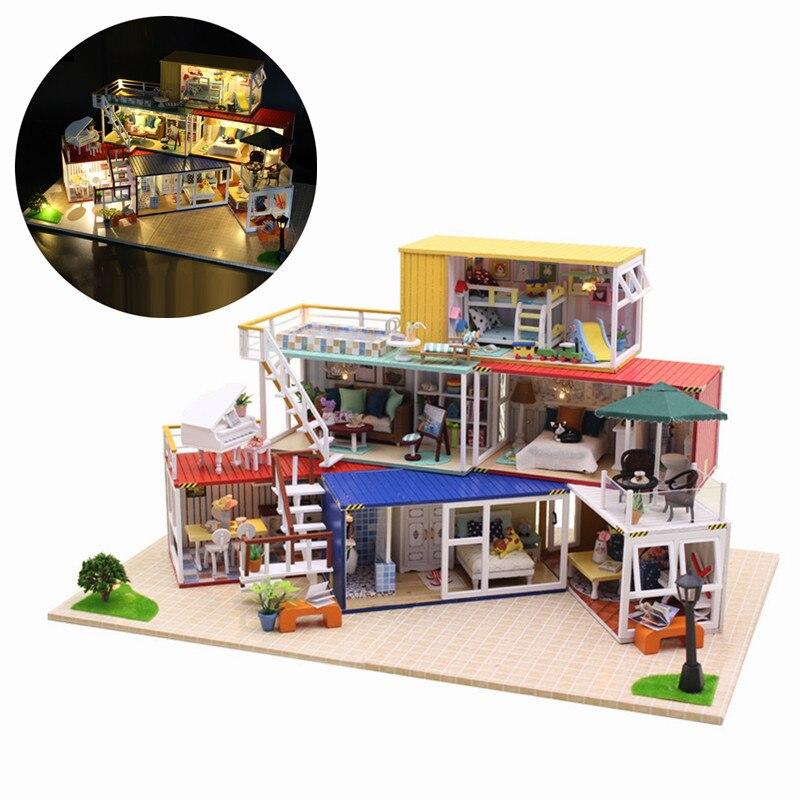Oyuncaklar ve Hobi Ürünleri'ten Oyuncak Bebek Evleri'de Hoomeda 13843Z 3D Ahşap Bulmaca DIY El Yapımı Konteyner Ev Müzik Kapağı Işık DIY Dollhouse Kiti 3D Japon Tarzı'da  Grup 1