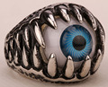 Mens stainless steel evil eye ring punk rock party jewelry birthday gifts for dad him wholesale dropshipping silver tone R31