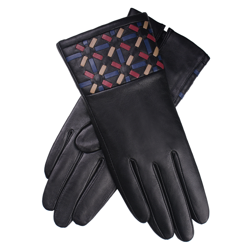 Free shipping 2pairs fashion female style genuine leather gloves winter protecting Korean style with knitted woven gloves