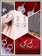 Factory Price,Wholesale Free shipping lovely 925 stamped silver plated heart three shine earrings jewelry 12 style 2016 New