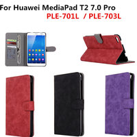 PU Leather Wallet Stand Cover With Card Holder Protective Case For Huawei MediaPad T2 7 0
