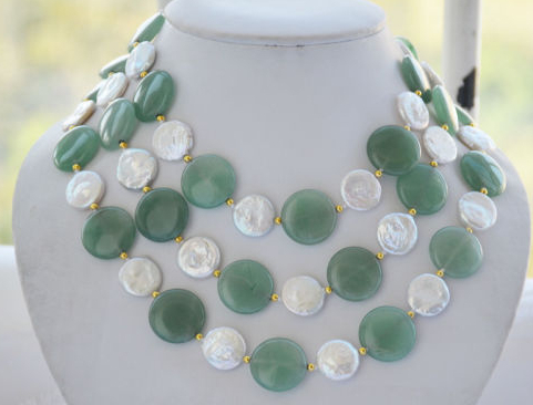 N1444 20mm coin white freshwater pearl green stone NECKLACE 50inch N Discount (A0325)N1444 20mm coin white freshwater pearl green stone NECKLACE 50inch N Discount (A0325)