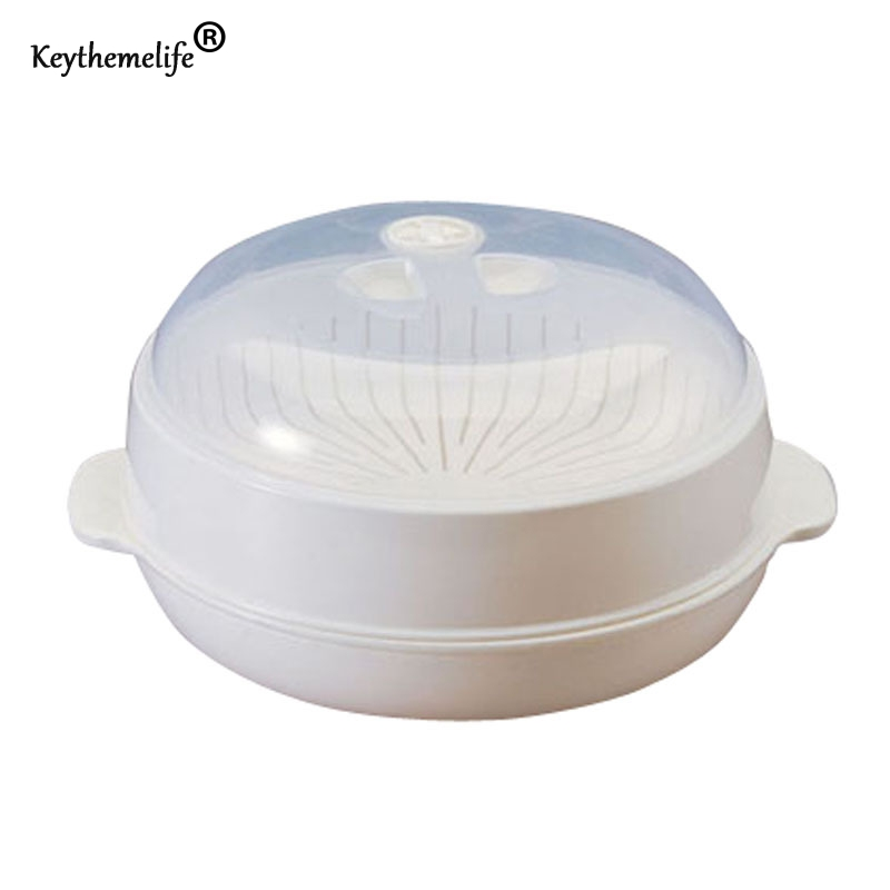 Keythemelife Steamer Cooker Bowl 1pcs White PP Health Material Round Shape Microwave Food Dish
