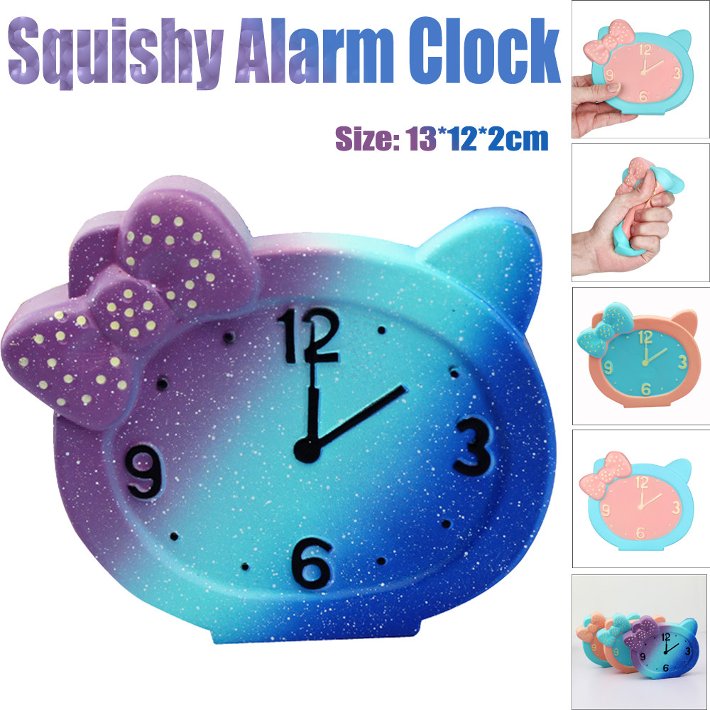 New Kawaii Squeeze Alarm Clock Octopus Squishy Slow Rising Anti Stress Soft Squeeze Cake Bread Straps Kid Fun Toys for Gift