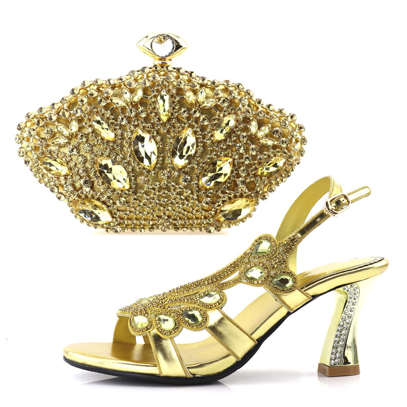 African aso ebi wedding sandal shoes middle heel 3 inches size 37 to 42 and clutches bag italian shoes and bag to match SB8168-2