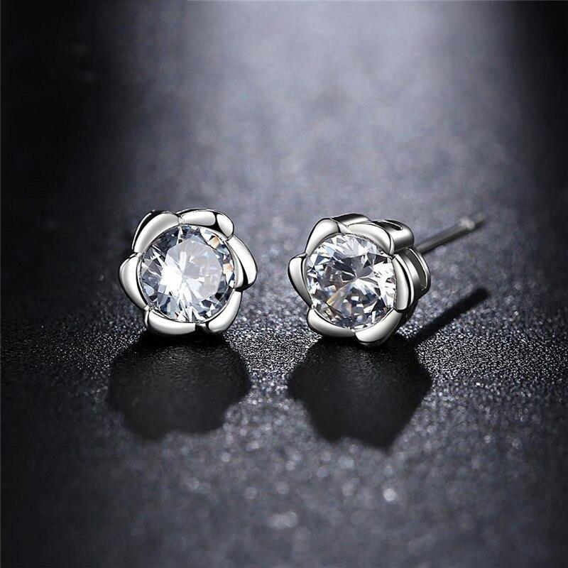 2017 Retro Plum Flower AAA Zircon Stone Stud Earrings For Girls Kids Birthday Gift Women ...