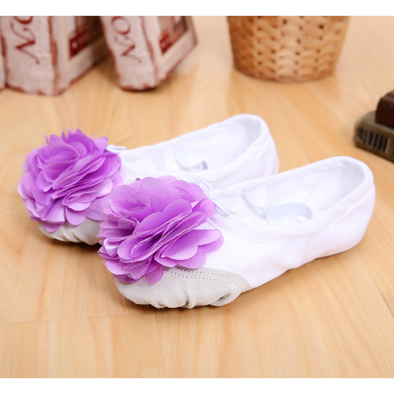 Child Girl Ballet Dance Shoes Soft-soled Kid Gym Nastic Shoes With Flower For Girls Canvas Gymnastics Shoes