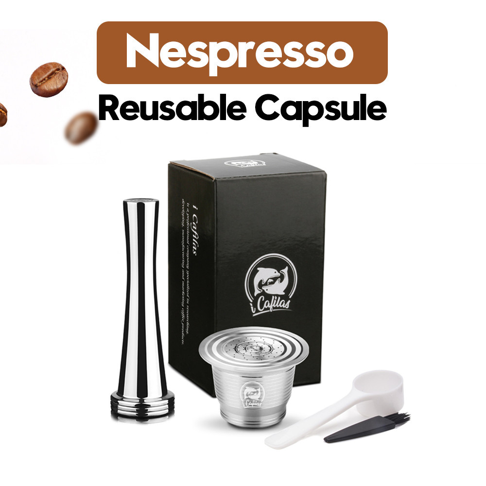 Upgraded Stainless Steel Nespresso Coffee Filters Coffee Capsule Pods Tamper For Espresso Reusable Refillable Baskets