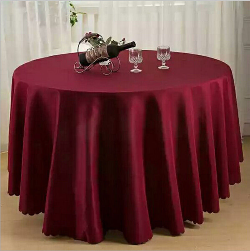 Marious Brand 10pcs Burgundy Table Cloth Round Polyester