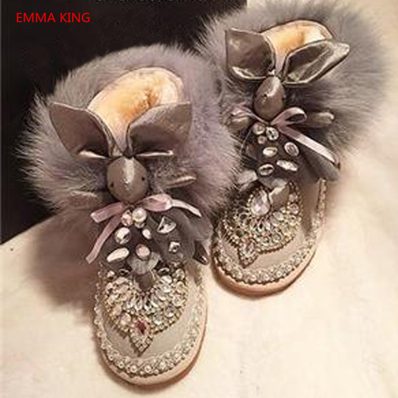 Fox Fur Snow Boots Warm Comfortable Women Winter Boots Christmas Cute Rabbit Girls Casual Cotton Shoes 2018 Woman Ankle Booties